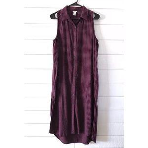 Forever 21 Red Blue Sleeveless Midi Shirt Dress